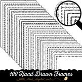 100 Hand Drawn Frame Borders Set 2 - Doodle Frames - 8.5 x
