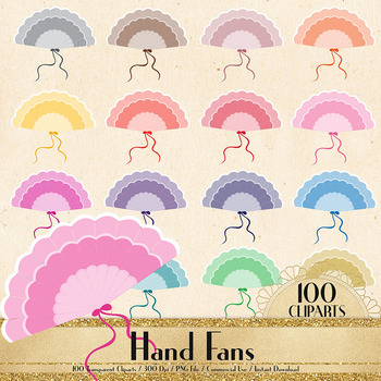 100 Hand Fan Clip Arts, Princess Fans, Antique European Fans