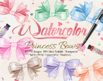 100 Hand Painted Watercolor Princess Bow Clip Arts