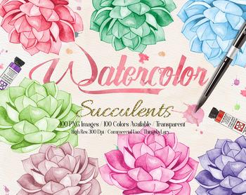 100 Hand Painted Watercolor Succulent Clip Arts