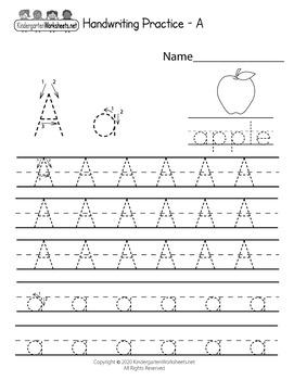 Handwriting Worksheets for Kindergarten (100 Worksheets)