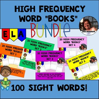 "BUNDLE 100 High Frequency Words ""Books"" Sets 1-5"
