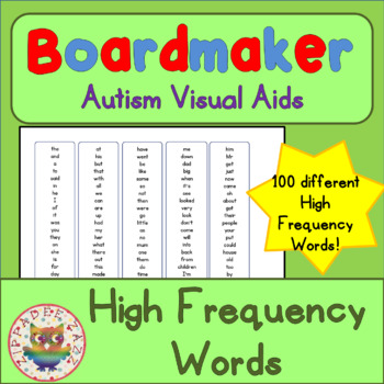 100 High Frequency Words (UK) - Visual Aids for Autism