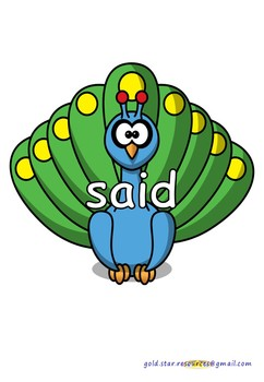 100 High Frequency Words on Peacocks for Display