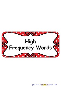 100 High Frequency Words on Red Polka Dots for Display