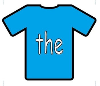 100 High Frequency Words on T-Shirts for Display