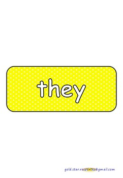 100 High Frequency Words on Yellow Polka Dots for Display