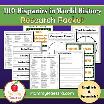 100 Hispanics in World History Research Packet (100th Day)