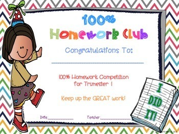 100% Homework Club Certificates