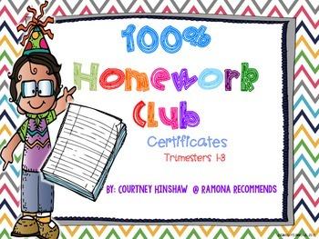 100% Homework Club Certificates