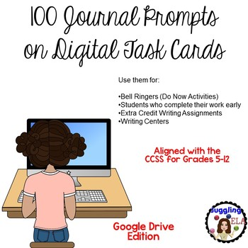 100 Journal Prompts on Digital Task Cards (Google Drive Edition)
