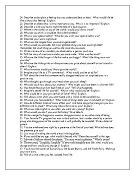 100 Journal Prompts (Aligned with the CCSS for grades 5-12)