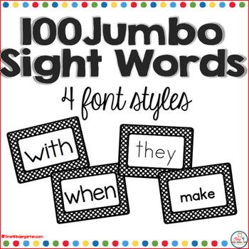 100 Jumbo Kindergarten Sight Word Wall Words: Fry List