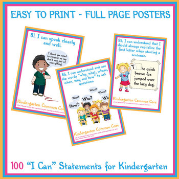"""100 Kindergarten """"I Can"""" Common Core Math and ELA Posters"""