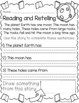 100 Kindergarten Space Theme No Prep Language, Reading, Writing, & Math Work