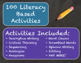 100 Literacy Based, Bell Ringer Activities (Grades 3-5) 100% Editable - No Prep!