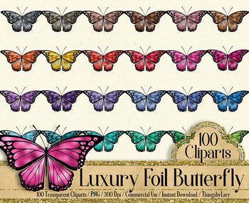100 Luxury Butterfly Clip Arts Luxury Foil Graphic Kit