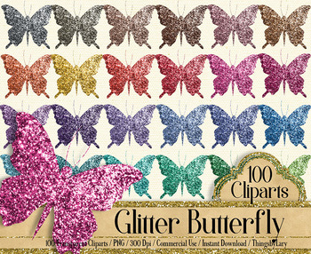 100 Luxury Glitter Butterfly Clip Arts, Glitter Graphic Kit