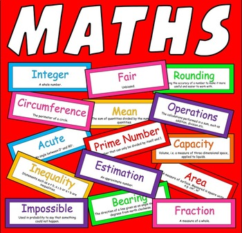100 MATHS WORDS FLASHCARDS - NUMERACY KS 2-4 DISPLAY NUMBER SHAPES DATA