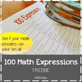 100 Math Expressions for Middle School *FREE*