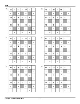 100 Math Puzzles Across Down Subtraction Only