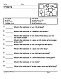 100 Math Worksheets Shopping word Problems
