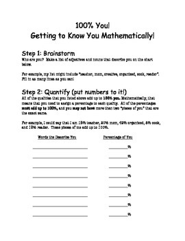 100% You, A Mathematical Icebreaker