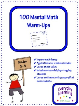 100 Mental Math Warm Ups Exit Slips