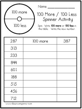 100 More / 100 Less Math Pencil Spinner Activity
