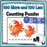 100 More and 100 Less Number Puzzles Ocean Theme