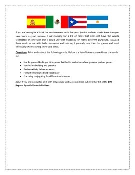 100 Most Common Spanish Verb Cards