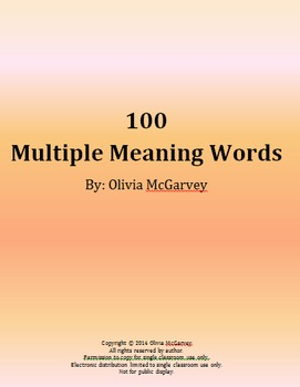 100 Multiple Meaning Words