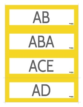 100 Musical Alphabet Word Cards For Use WIth ANY Game