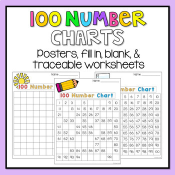 100 Number Chart Worksheets - blank, filled, missing numbers, evens and odds