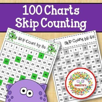 100 Charts with Skip Counting - Monsters