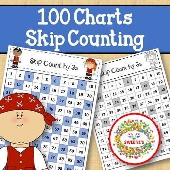 100 Charts with Skip Counting - Pirates