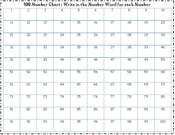 100 Number & Word Chart