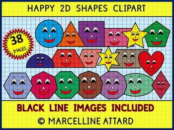 2D SHAPES CLIP ART: GEOMETRY CLIPART: SMILEY FLAT SHAPES CLIPART: MATH CLIPART