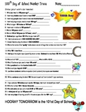 100 One Hundred Day of School Math Trivia Questions