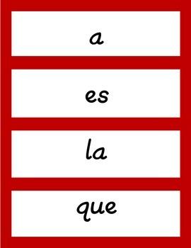 100 Palabras de Alta Frecuencia (Spanish, For Word Walls)
