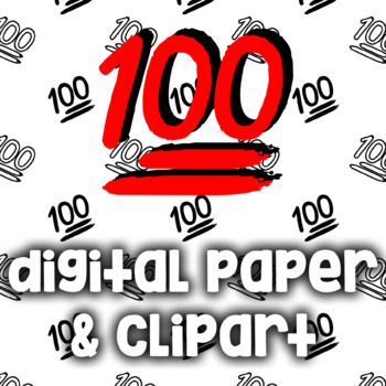 100 Points Emoji Clip Art and Digital Papers - 100 Emoticon