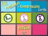 100 Preguntas de Comprensión Escrita en Español. K-2nd Grade