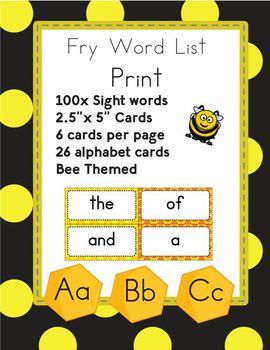 100 Print Fry Word Flash Cards