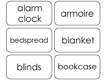 100 Printable Household Items Flashcards.