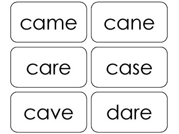 100 Printable Silent 'E' Words Flashcards. ELA, Speech, Reading, Phonics, Spell