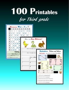 100 Printables for Third grade