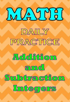100Q Practice Addition & Substraction Integers(Warm up, Morning work, drill)Free