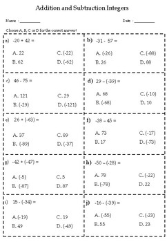 100 Q Addition & Substraction Integers (Warm up, Morning work, drill, test prep)