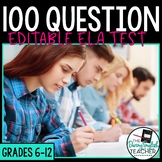 100 Question Editable English Pre-Test/Final Exam with Study Guide