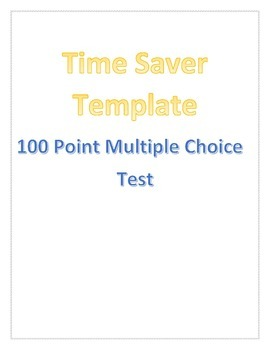 Multiple Choice Template | 100 Question Multiple Choice Quiz Test Assessment Template By